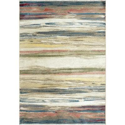 Oxford 7 ft. 10 in. x 10 ft. Cream/Multi Abstract/Striped Area Rug