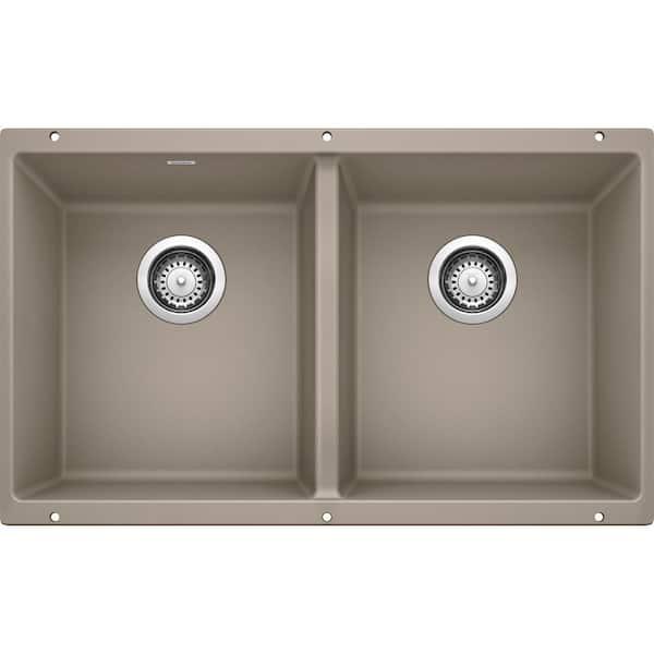 Blanco Precis Undermount Granite Composite 29 75 In 50 Double Bowl Kitchen Sink Truffle 517678 The Home Depot