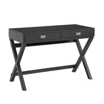 44 in. Rectangular Black 2 Drawer Writing Desk with Built-In Storage