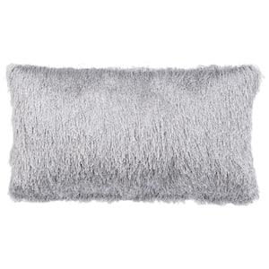 Soleil Shag Silver Rectangle Outdoor Throw Pillow