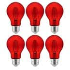 60-Watt Equivalent A19 Dimmable Filament E26 Medium Base LED Red Light Bulbs (6-Pack)