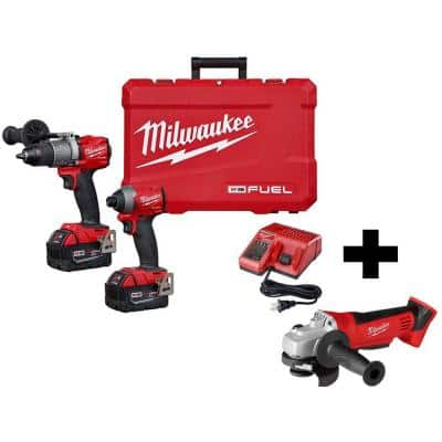 M18 FUEL 18-Volt Lithium-Ion Brushless Cordless Hammer Drill and Impact Driver Combo Kit W/ M18 Cut-Off/Grinder