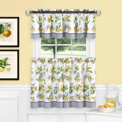 Lemon Drop Yellow Polyester Light Filtering Rod Pocket Tier and Valance Curtain Set 58 in. W x 36 in. L