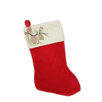 19 in. Traditional Red Pine Cone Suede Cuff Christmas Stocking