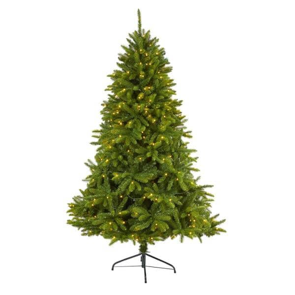 Nearly Natural 6 Ft Pre Lit Sierra Spruce Natural Look Artificial Christmas Tree With 300 Clear Led Lights T1665 The Home Depot