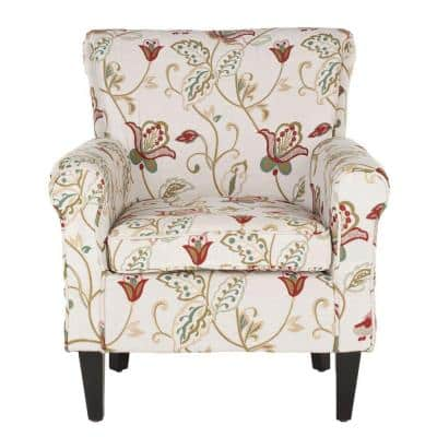 Hazina White and Red Cotton Blend Club Arm Chair
