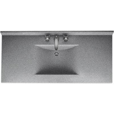 Contour 49 in. W x 22 in. D Solid Surface Vanity Top with Sink in Gray Granite
