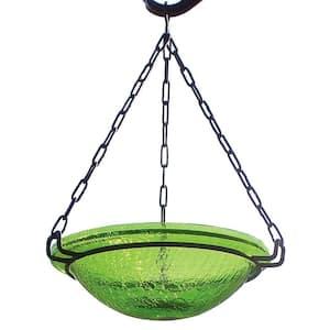 12.5 in. Tall Fern Green Crackle Glass Hanging Birdbath Bowl