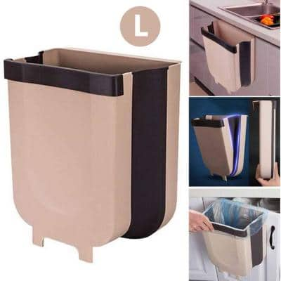 9 l Hanging Collapsible Folding Trash Can Waste Bin for Home, Car Bridge