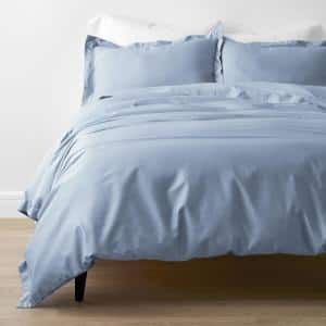 Misty Blue Solid Bamboo Cotton Sateen Twin Duvet Cover