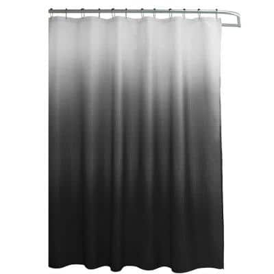 Ombre Dark Grey 70 in. x 72 in. Texture Printed Shower Curtain Set with Beaded Rings