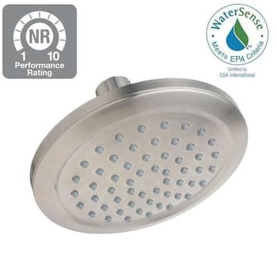 1-Spray 5.9 in. Single Wall Mount Fixed Shower Head in Satin Nickel