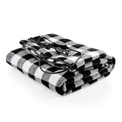 Plaid Electric Heated Travel Throw Blanket with Overheat Protection and 12V Car Outlet, Black and White