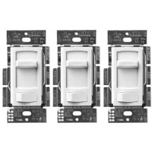 Skylark Contour LED+ Dimmer Switch for Dimmable LED, Halogen & Incandescent Bulbs, Single-Pole or 3-Way, White (3-Pack)