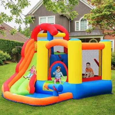 Multi-Color Inflatable Bounce House Water Slide with Climbing Wall Splash Pool Water Cannon