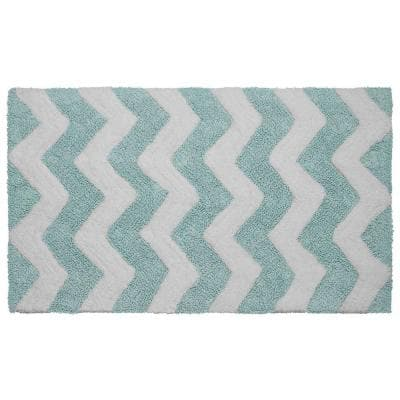 Reversible Cotton Soft Zigzag Aquatic Blue 21 in. x 34 in. Bath Mat