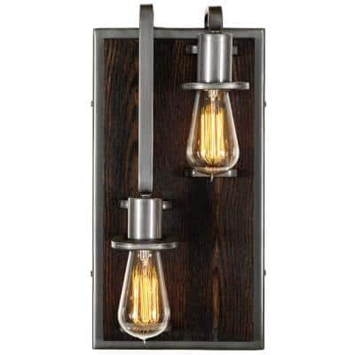 Lofty 2-Light - Left - Steel with Zebrawood Wall Sconce