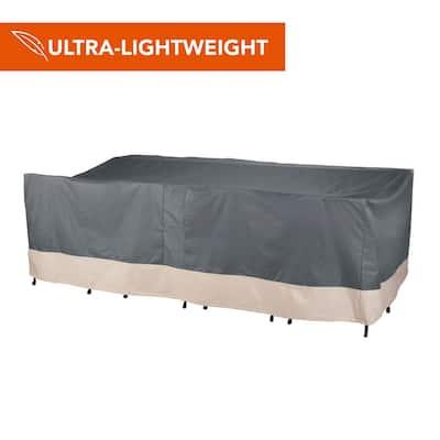 Renaissance Ultralite Water Resistant Rect/Oval Patio Table and Chair Cover, 108 in. L x 64 in. W x 34 in. H, Gray