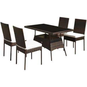 5-Piece Metal Wicker Outdoor Sectional Set with Cushions