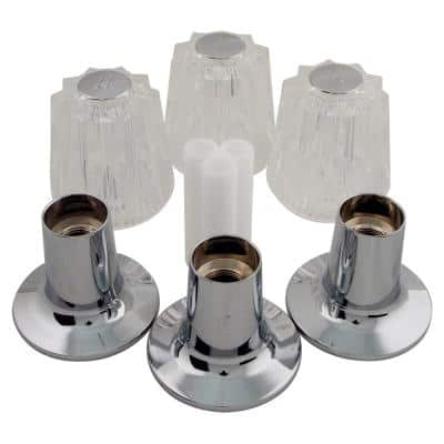 Windsor 3-Handle Faucet Trim Kit in Clear Acrylic and Chrome for Tub and Shower Faucets (Valve Not Included)