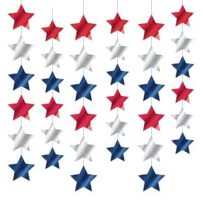 7 ft. Foil Star String Decorations (6-Count, 3-Pack)