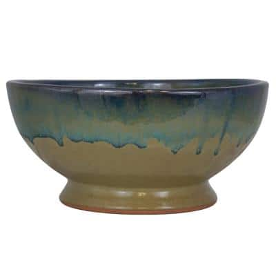 12 in. Dia Caspian Multi-Color Ceramic Bowl Planter