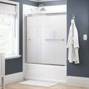 Crestfield 60 in. x 58-1/8 in. Semi-Frameless Traditional Sliding Bathtub Door in Chrome with Tranquility Glass