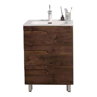 Joy 24 in. W x 18.25 in. D x 33.5 in. H Integrated Porcelain Bathroom Vanity in Rosewood with White Top