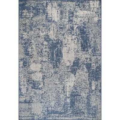 Maeve Mottled Blue 9 ft. 6 in. x 12 ft. Abstract Indoor/Outdoor Area Rug