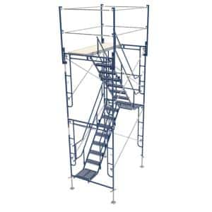 5 ft. x 7 ft. x 13 ft. Scaffolding Tower with 76 in. Stair and 24 in. Leveling Jacks