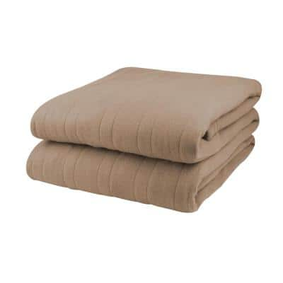 1000 Series Comfort Knit Heated 62 in. x 84 in. Fawn Twin Blanket