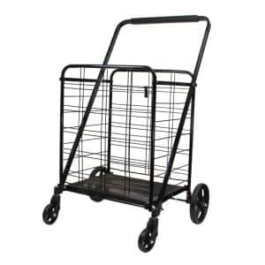 Black Metal Cleaning Cart with Heavy Duty Swivel