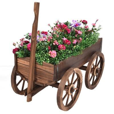 Brown Wood Wagon Flower Outdoor Wood Plant Stand Pot Stand with Wheels