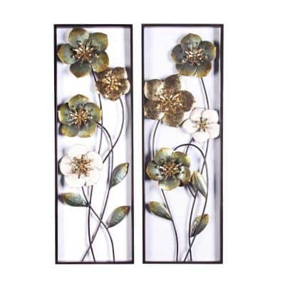 Metal Flowers Wall Decor (2-Pieces)