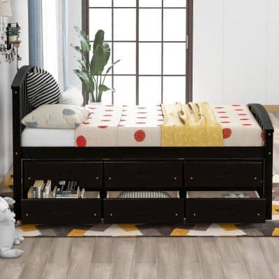 Espresso Twin Size Solid Wood Platform Bed with 6-Drawers