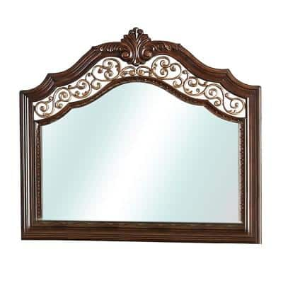 Large Rectangle Brown Cherry Beveled Glass Classic Mirror (46 in. H x 48 in. W)