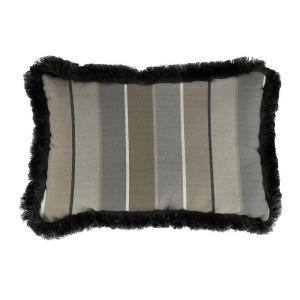 Sunbrella 19 in. x 12 in. Milano Charcoal Lumbar Outdoor Throw Pillow with Black Fringe