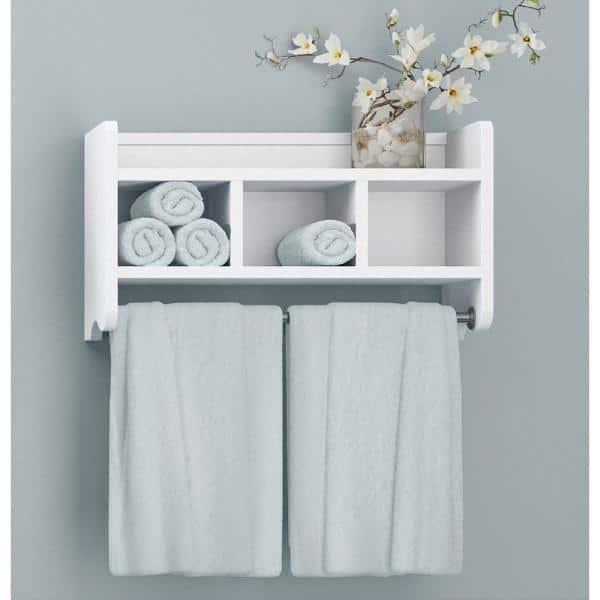 Alaterre Furniture 25 In W Bath Storage Shelf With Towel Rod In White Abss0050 The Home Depot
