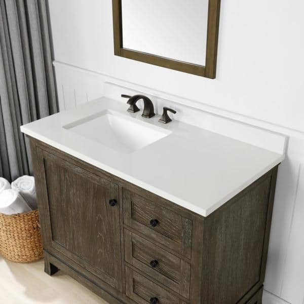 Martha Stewart Living Meadow 42 In Bath Vanity Cerused Walnut With Cultured Marble Top White Basin 15vva Mead42 11 The Home Depot