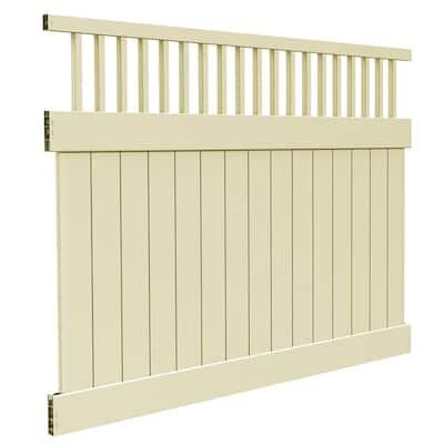 Rainier 6 ft. x 8 ft. Sand Vinyl Closed Picket Top Fence Panel