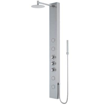 Ellington 59 in. 4-Jet High Pressure Shower System with Fixed Rainhead and Handheld Dual Shower in Stainless Steel