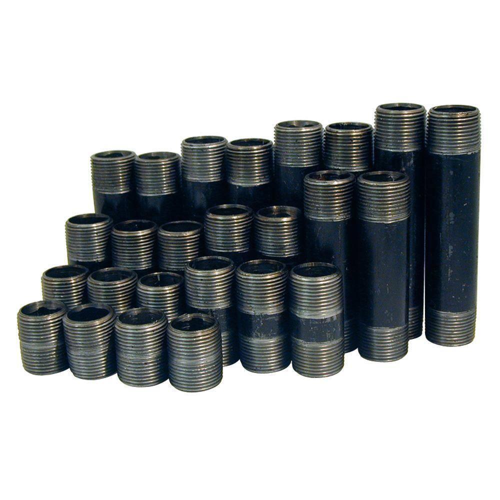 "Sizes Close through 6/"" 1//2/"" Black Iron Nipple Pack"