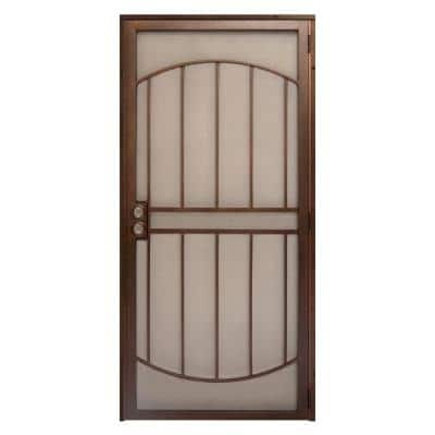 32 in. x 80 in. Arcada Copper Surface Mount Outswing Steel Security Door with Expanded Metal Screen