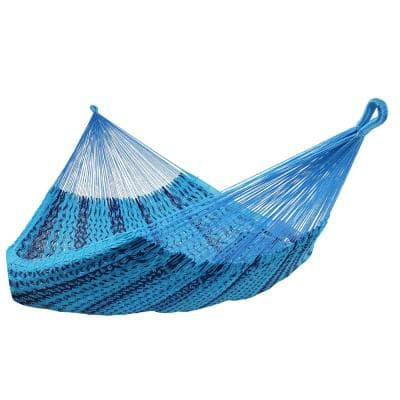 Mayan Family 13 ft. 880 lbs. Capacity XXL Thick Cord Hand-Woven Hammock Bed in Blue