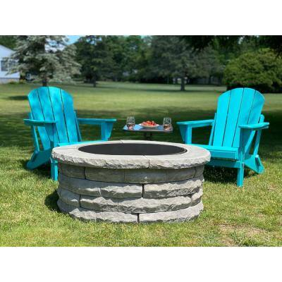 Ledgestone 47 in. x 18 in. Round Concrete Wood Fuel Fire Pit Ring Kit Gray Variegated