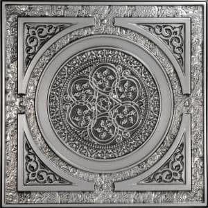 Steampunk 2 ft. x 2 ft. PVC Glue-up or Lay-in Ceiling Tile in Antique Silver