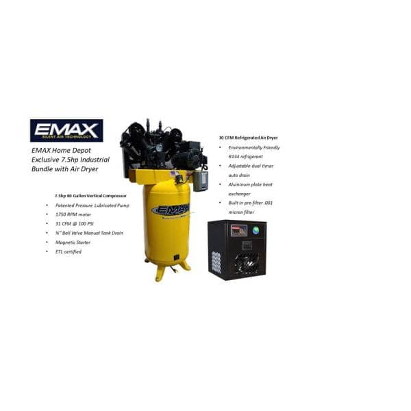 Emax Industrial 80 Gal 7 5 Hp 1 Phase Electric Air Compressor With Pressure Lubricated Pump And 30 Cfm Air Dryer Hi07v080v1pkg The Home Depot