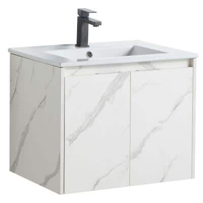 Yunjin Stone Stylish 24 in. Bathroom Cabinet with Wash Basin without LED Mirror