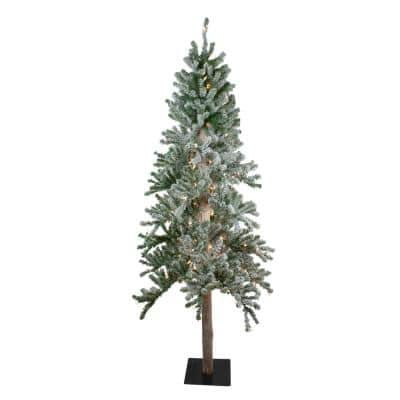7 ft. Pre-Lit Flocked Alpine Artificial Christmas Tree with Clear Lights