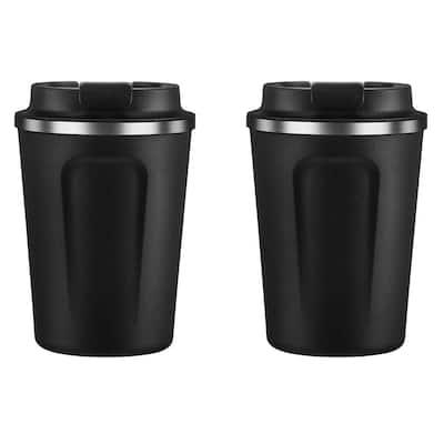 13 oz. Black Stainless Steel Cafe Compact Mug Kit (Set of 2)